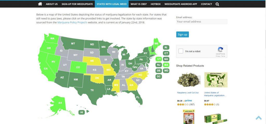 WeedUpdate, WeedUpdate.com, States with Legal Weed, States with Legal Weed Map